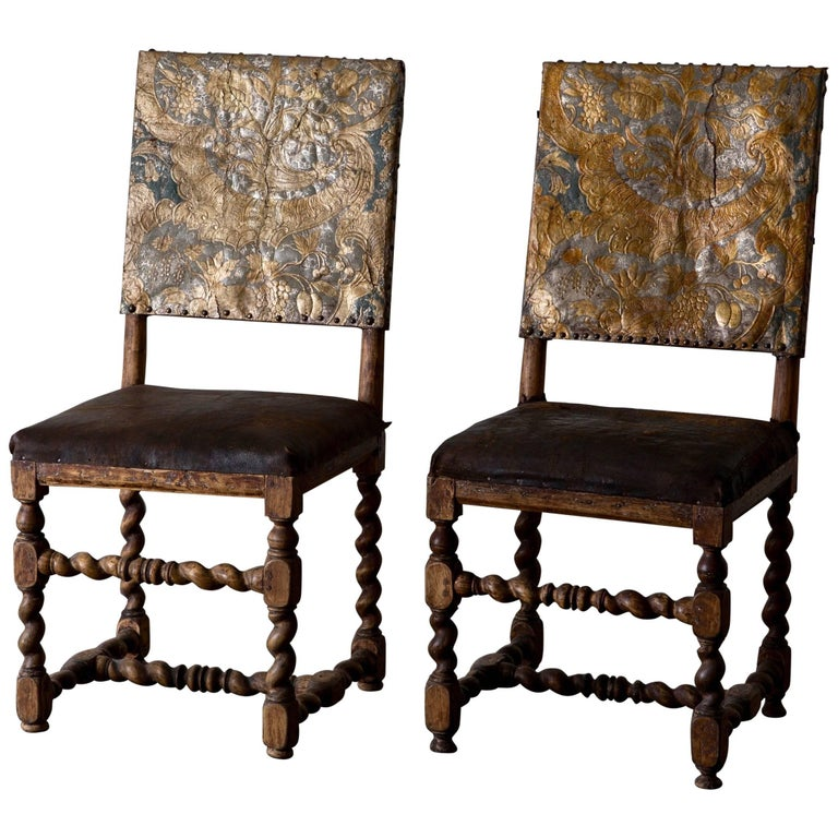 Chairs Pair Swedish Baroque Period 18th Century Sweden