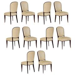 Maison Leleu, Set of Ten Lacquered Dining Chairs, France, C. 1963