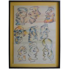 Set of Nine Caricatures by Barry Bleach