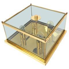 Rectangular Art Deco Brass and Glass Flush Mount