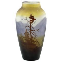 Emile Gallé French Art Nouveau 'Vosges' Landscape Cameo Glass Vase