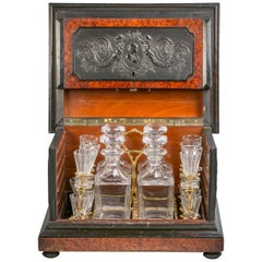 Fine English Yew and Boxwood Tantalus Bar Set, circa 1875