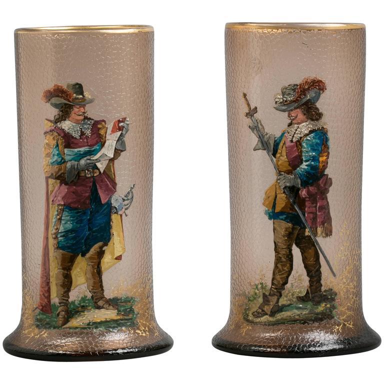 Pair of Bohemian Enameled Glass Vases, circa 1890
