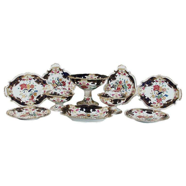 Regency Large Coalport Porcelain Dessert Service-Thirty Nine Pieces