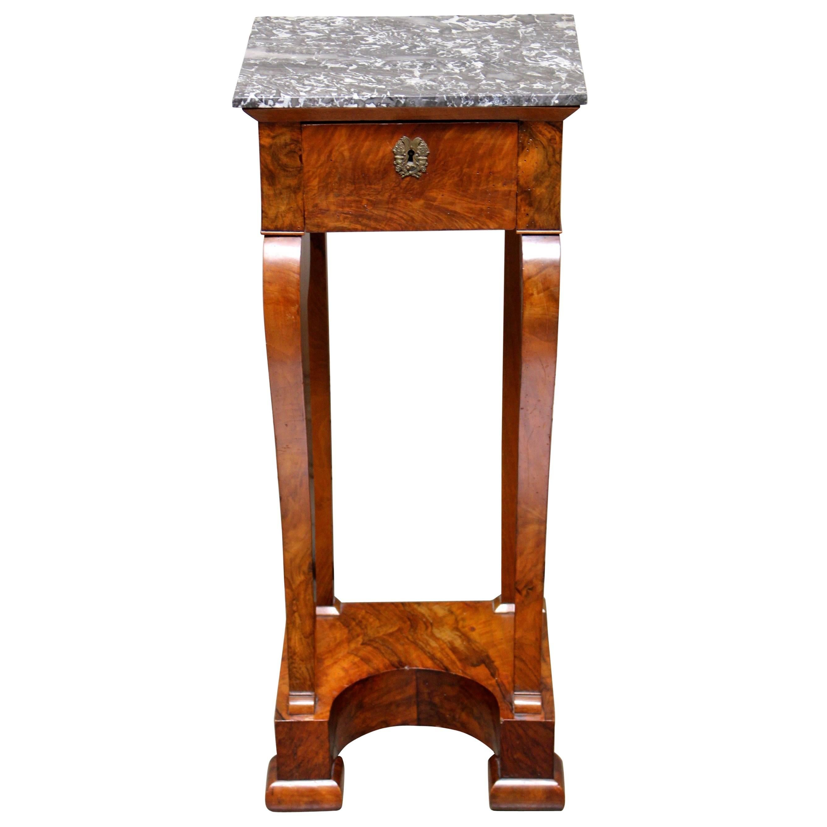 French Charles X Mahogany Table with a Marble Top