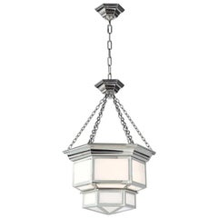 Two-Tier Hanging Pendant with White Glass
