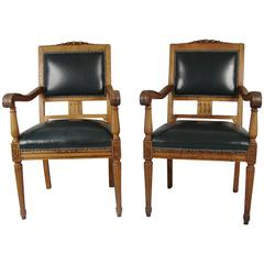 Pair of Large Scale German Oak Leather Upholstered Armchairs