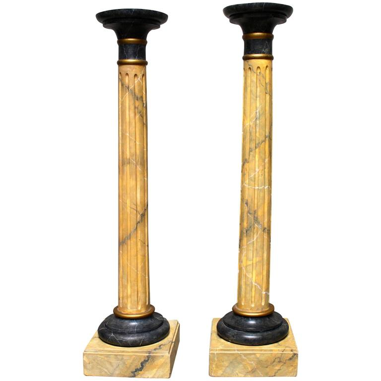 Pair of Wood Columns with Faux Marble Painted Finish