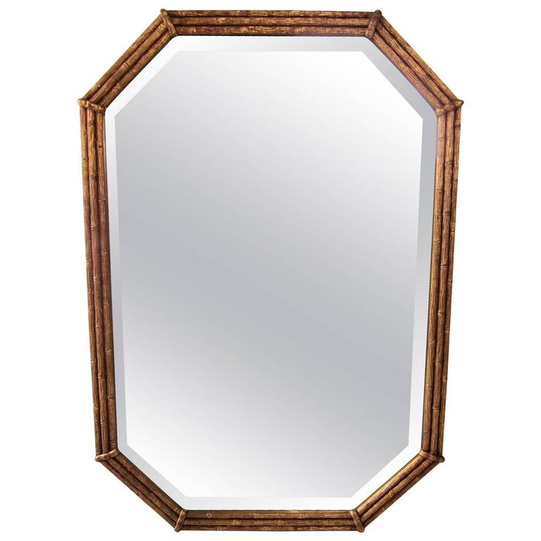 Midcentury 1960s Octagonal Gold Giltwood 'Bamboo' Wall Mirror