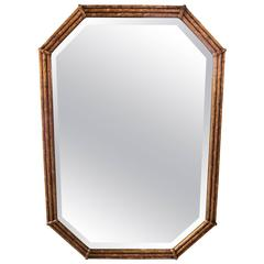Vintage Gold Giltwood 'Bamboo' Mirror with Tapered Corners, 1960s