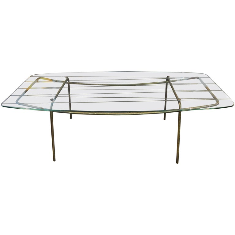 Italian Gio Ponti Inspired Bronze and Glass Cocktail Table