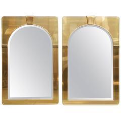 Pair of 1970's Brass Mastercraft Mirrors