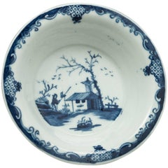 English Porcelain Blue and White Tart Pan, Worcester, 1758