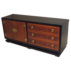 Large Italian Ebonized Wood and Brass Dresser, Chest of Drawers or Credenza