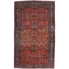 Antique Mahal Persian Palace Size Rug with Manor House Tudor Style