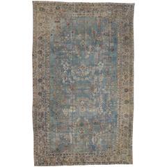 Light Blue Antique Persian Kerman 'Kirman' Distressed Rug
