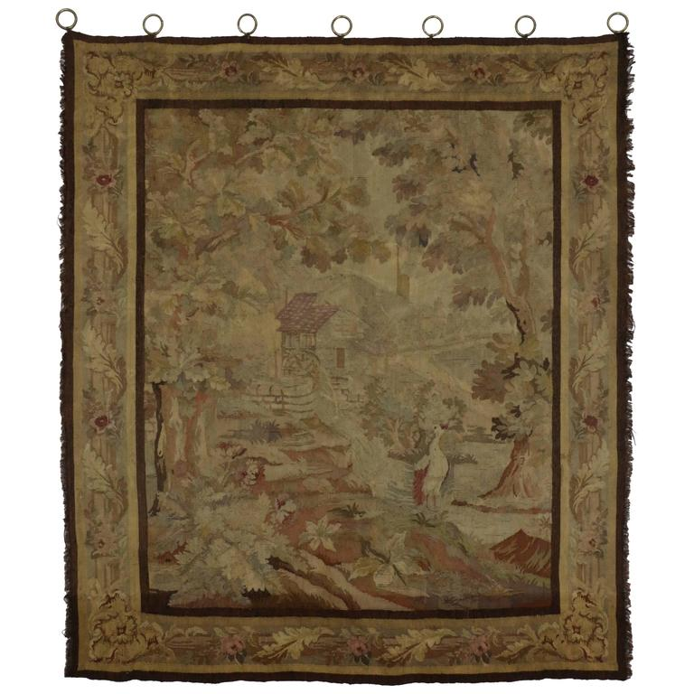 Very Late 19th Century Antique French Tapestry Wall Hanging with Old  WF75