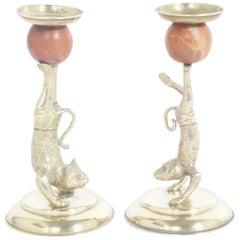 Arthur Court Cat and Monkey Candlesticks