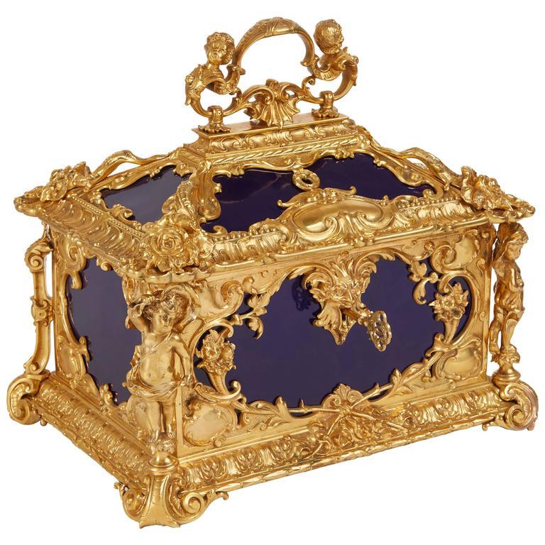 Louis XVI Style Ormolu-Mounted KPM Porcelain Casket For Sale