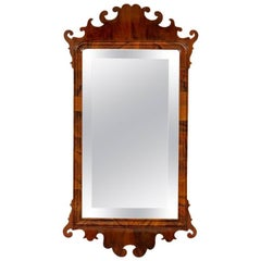 English George III Walnut Fret Mirror