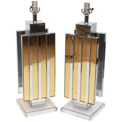 Pair of Lucite Brass and Mirrored Chrome Table Lamps