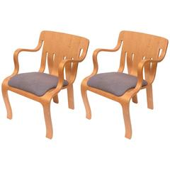 Rare Pair of Thonet Plywood Armchairs