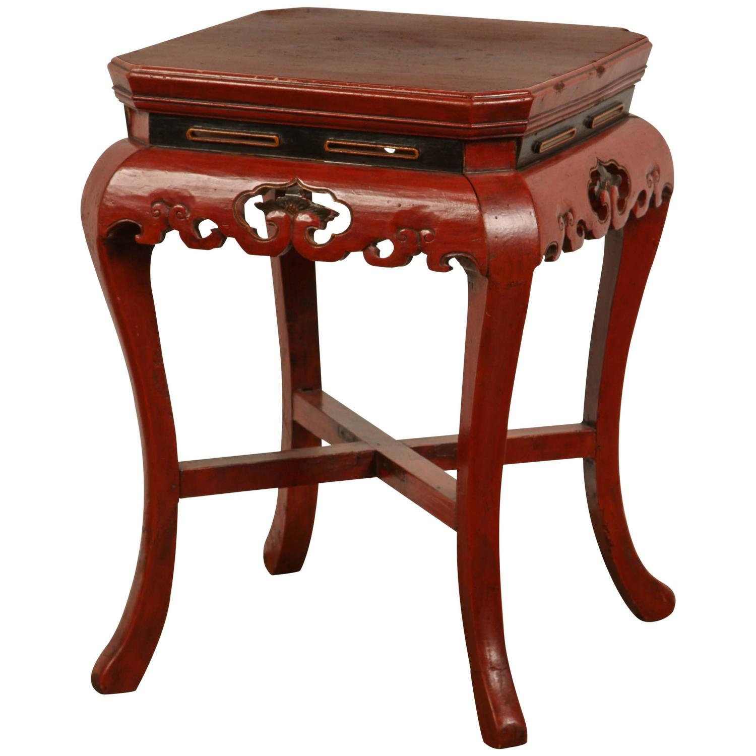 Chinese red side table at 1stdibs for Red side table