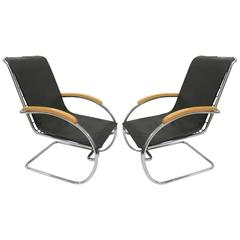 Pair of Lounge Chairs Designed by Anton Lorenz for Thonet in 1932, Europe