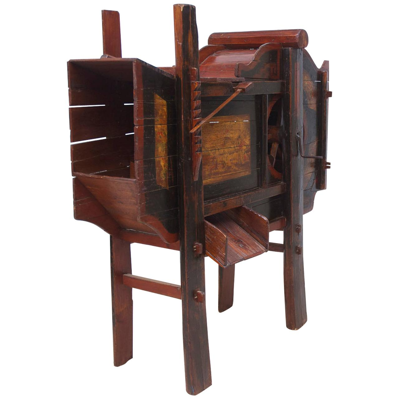 19th Century Wooden Chinese Rice Thresher with Painted Scenes