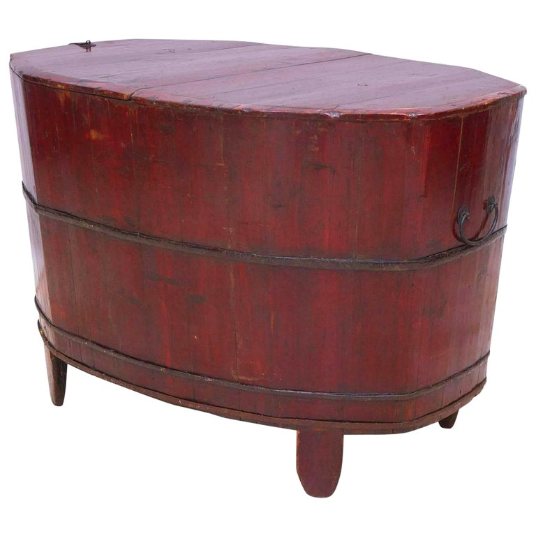 Antique 19th Century Chinese Grain Bin with Lacquered Cinnabar-Colored Paint