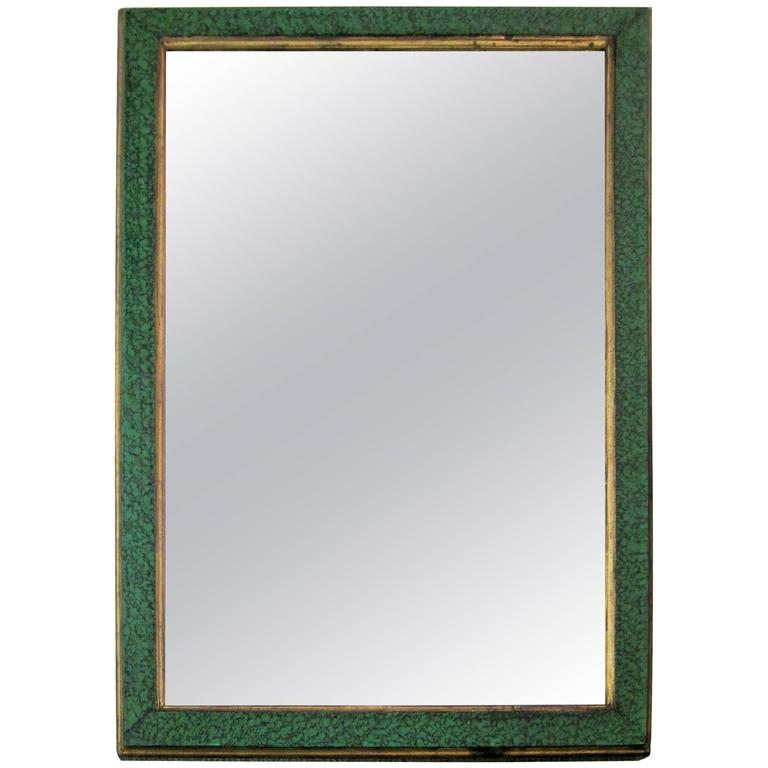 wood wall mirror. Modern Malachite Green Lacquer And Gold Gilt Wood Wall Mirror, Ca. 1970s For Sale Mirror