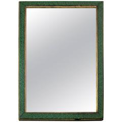 Vintage Malachite Green Style Lacquer and Gilt Wall Mirror