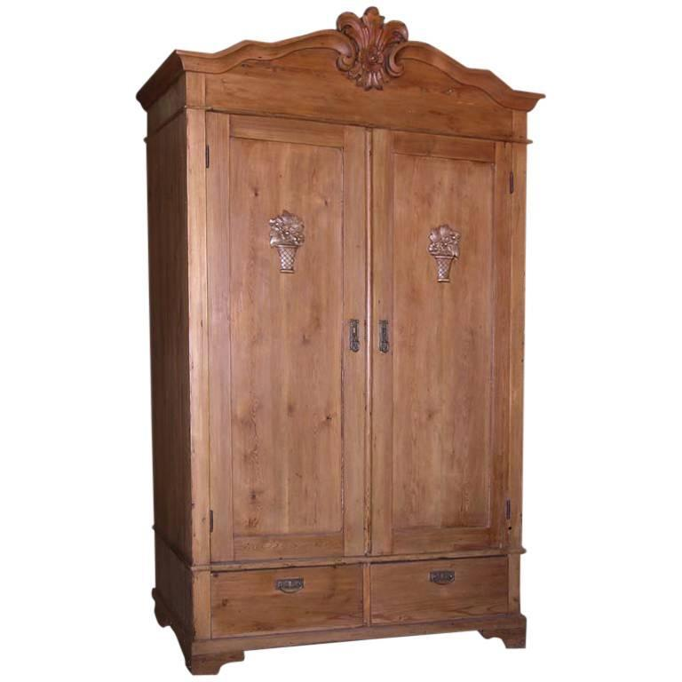 Antique Armoire With Carved Details For Sale
