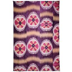 19th Century Uzbek Silk Ikat Textile Panel