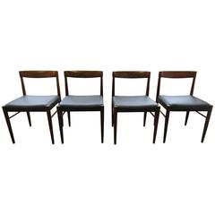 Elegant Set of Eight Rosewood Chairs by H.W. Klein, Four Newly Reupholstered