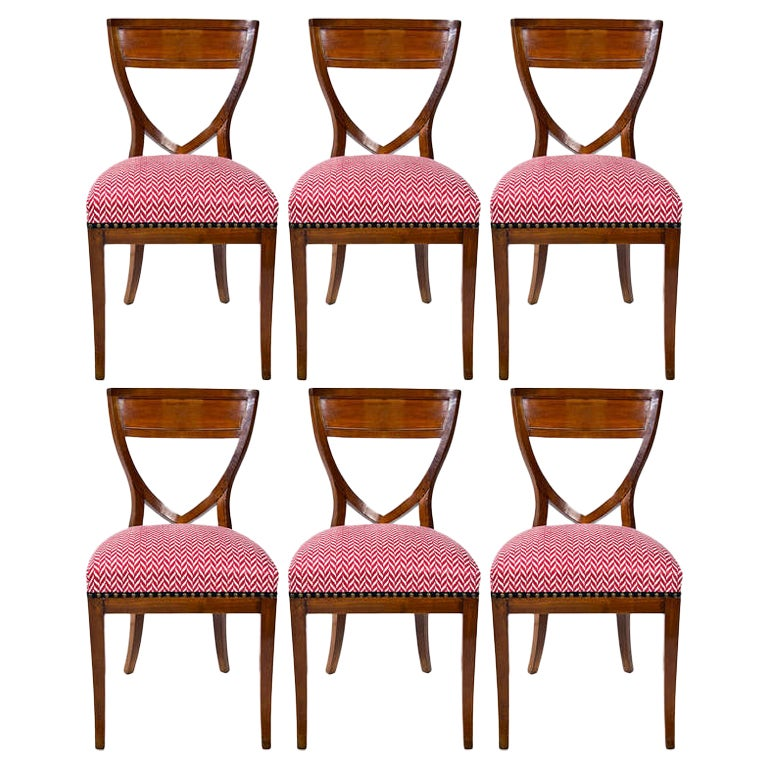 Set of Six 19th Century Biedermeier Mahogany Chairs
