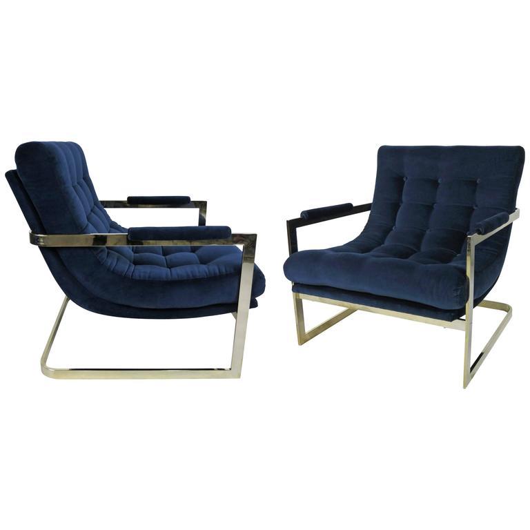 Pair Of Nickel Frame Scoop Chairs By Milo Baughman 1
