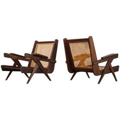 Pair of Modernist French Teak and Cane Chairs, Congo, Unité d'Habitation, 1960s