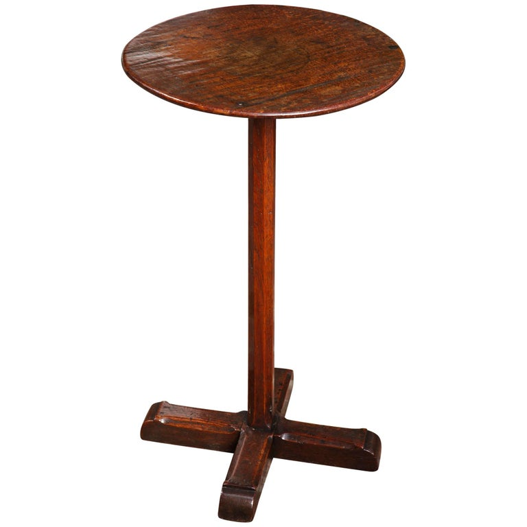 Diminutive Wonderfully Patinated Oak Circular Candle Stand, English, circa 1750