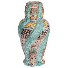Large Colorful Majolica Vase by Italian Kerima Gualdo T.