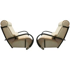 Pair of Midcentury Wood and Velvet Italian Lounge Chairs, 1950
