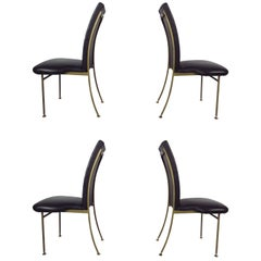 Set of Four Midcentury Regency Style Brass Chairs