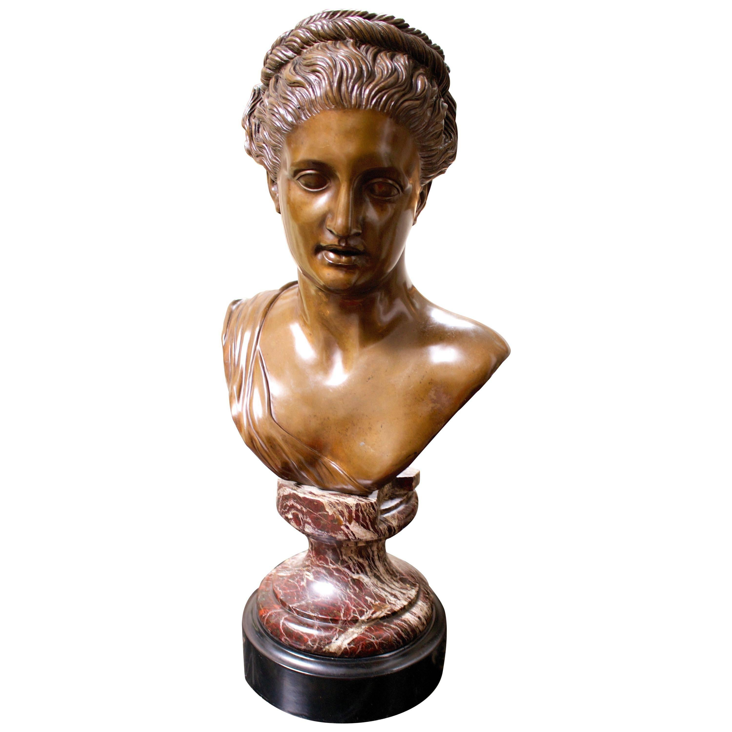Italian Bronze Bust of a Woman in the Classical Manner on Marble Base