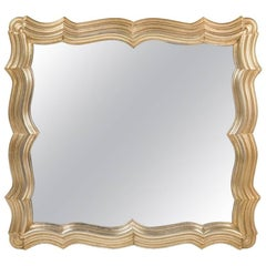 Theatrical Scallop Frame Silver Leaf Mirror by Dorothy Draper