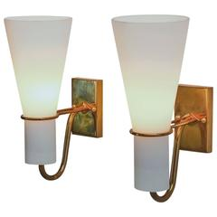 Asea brass and opaline glass bedside wall lamps, Sweden, 1950s
