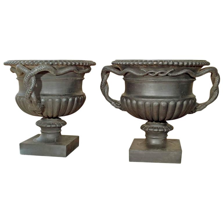 Pair of Rare Large French Cast Iron Urns with Entwined Serpent Handles