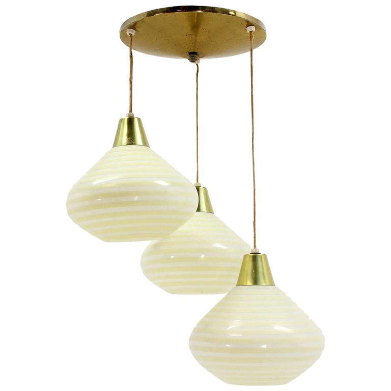 1960s Triple Art Glass Stripe Pattern Cone Shape Pendant Globe Light Fixture