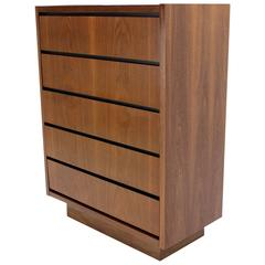 Mid Century Modern Walnut High Chest of 5 Drawers Dresser