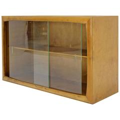 Edmund Spence Blonde Wood Swedish Modern Hanging Bookcase w/ Glass Sliding doors