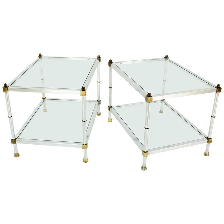 Pair Of Mid Century Modern Glass Brass Chrome Side Or End Tables For Sale